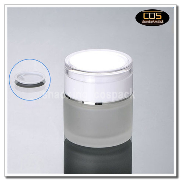 50pcs/lot 50g clear frosted glass cream jar with white acrylic lid, 50 gram cosmetic jar,packing for sample/eye cream,50g bottle