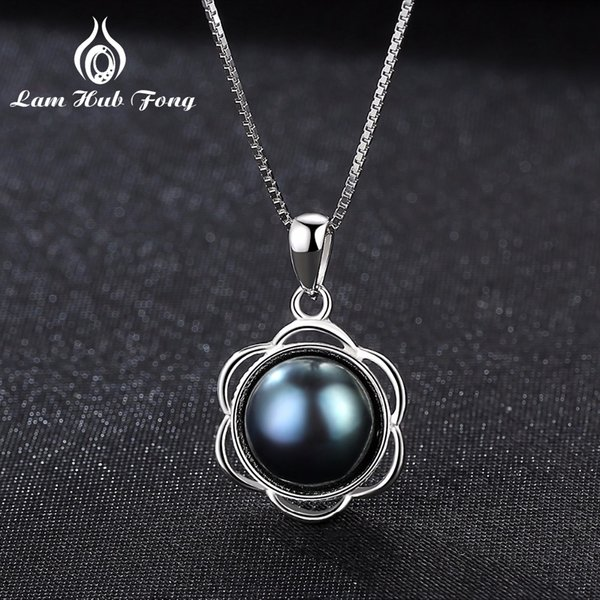 Luxury Black pearl necklace 925 Sterling Silver Pendant Natural Freshwater Pearl for Women Flower Shape Anniversary Gift Wedding Y18102910