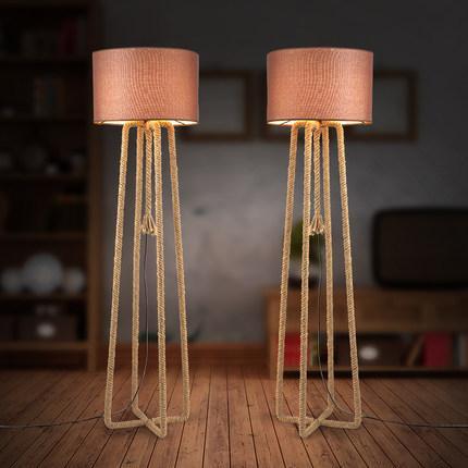 Yeni tasarım LED zemin ışıkları yaratıcı kenevir halat zemin lambaları Avrupa Amerikan tarzı endüstriyel retro zemin lambaları oturma çalışma odası cafe kulübü
