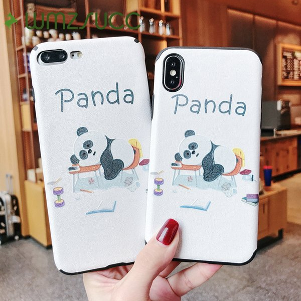 wholesale Lovely Sleepy Panda Soft Phone Case Shell for iPhone X 8 7 Back Cover for iPhone 6 6s Plus Drop Shipping