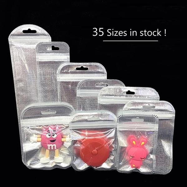 100pcs Jewelry Ziplock Zip Zipper Lock Reclosable Plastic PE Clear/Silver Bags transparent jewelry packaging bag Wholesale 10/11