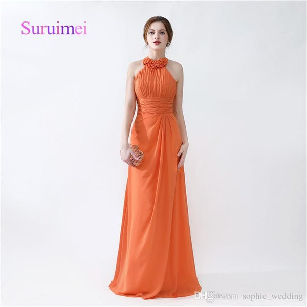 Orange Colorful Prom Dresses Robe De Soiree Halter A Line Pleats Formal Evening Gowns And Quickly Shipping