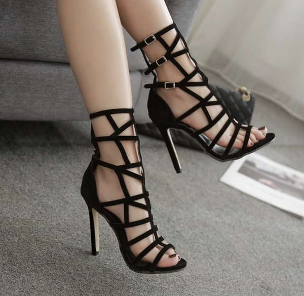 Spring fashion, stiletto breathable sandals women, open toe, stiletto, high heel, European and American Roman women's shoes T369