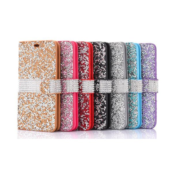 For iPhone 8 Galaxy ON5 Wallet Diamond Case iPhone 6 Case LG K7 Stylo Bling Bling Case Crystal PU Leather Card Slot Opp Bag