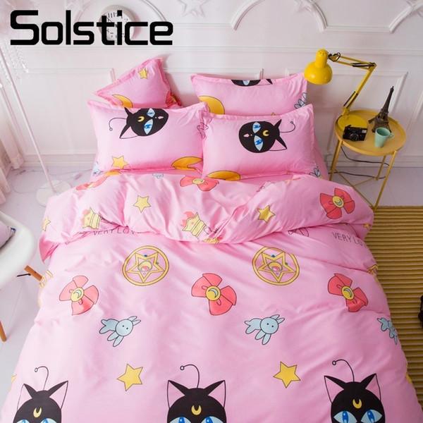 Solstice Home Textile Pink Cartoon Bedding Sets Girl Kid Teenage Linen Duvet Cover Pillowcase Bed Sheet King Queen Double Single