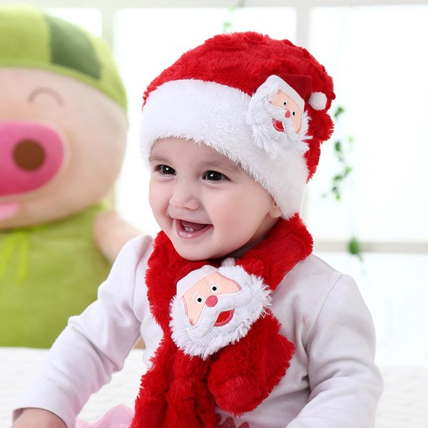 Christmas hats scarf set plush Santa cap Christmas decoration baby boys girls cute knit hat+scarves suit
