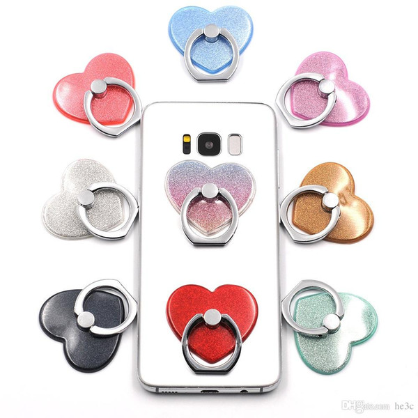 Glitter Love Heart-shaped Phone Stand Love Finger Ring 360 Degree Rotation Luxury Holder For iPhone 7 Plus Samsung Xiaomi