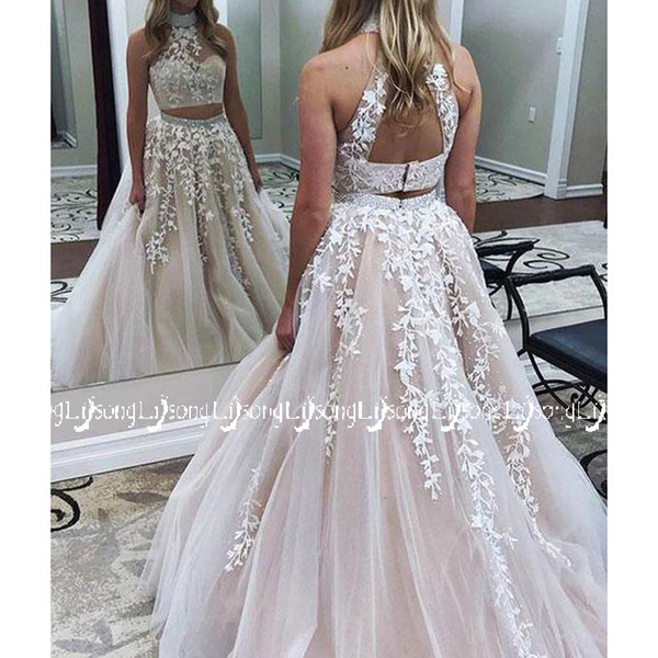 Beautiful Two Pieces Prom Dress Appliques Short Top Long Skirt Women Prom Party Set Maxi Bottom Bead Graduation Homecoming Sister Lady Gown