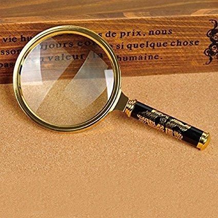 top popular 80mm Handheld 5X Loupe Magnifier Magnifying Glass Lens Perfect Viewing Small New -Gold 2021