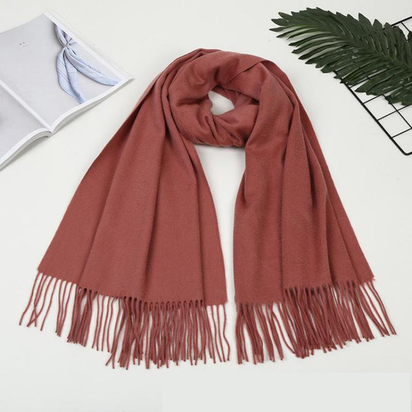 Women Shawls Autumn Spring New Shawl 100%Wool Muffler Scarf Scarves Wrap Tassels Warm  Solid Large Size Mujer Bufanda