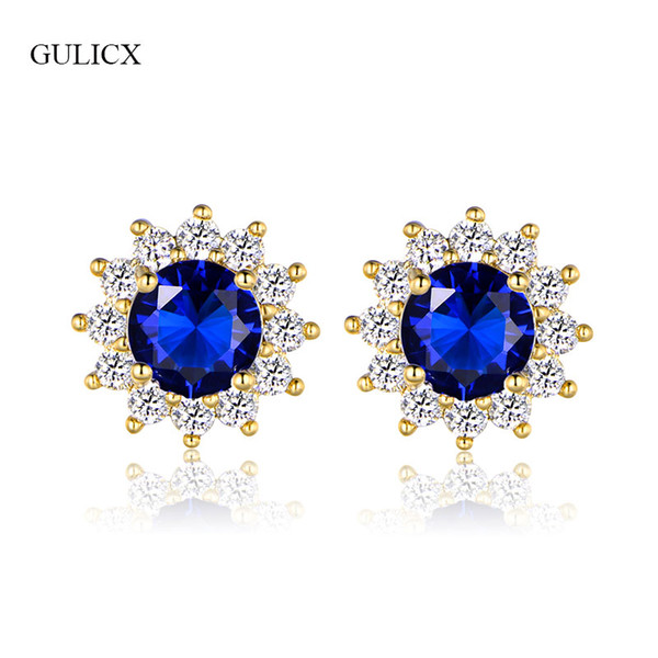 ewelry cristal GULICX Fashion Push Back Crystal Flower Earrings For Women Gold-Color Blue/Green/White Stone CZ Wedding Earrings Jewelry E...