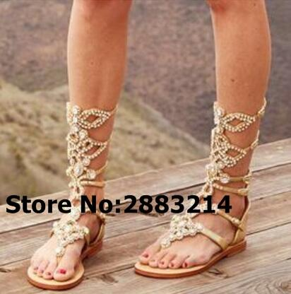 Knee High Handmade Women Hollow Out Sandal Boots Rhinestone Gladiator Flats Long Boots Clip-toe Crystal Embellished Lady