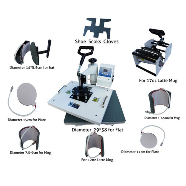 Multifuncional digital 9 em 1 combo máquina da imprensa do calor para a impressão de t-shirt / caneca / copo / placa / chapéu / apartamento / sapatos / meia / luva