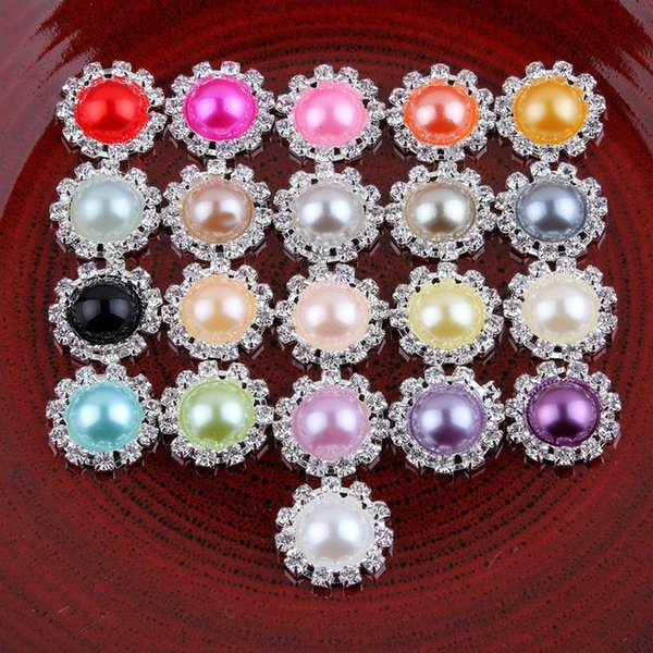 120pcs Lot Bling Round Decorative Flatback Crystal Pearl Buttons For Hair Accessories Metal Rhinestone Buttons Hair Ornaments Headwear