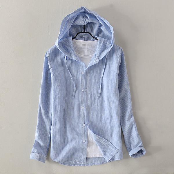 2018 Nouveaux hommes en coton et lin casual chemise à capuche à manches longues solide ciel bleu chemises hommes automne mode chemise mâle camisa