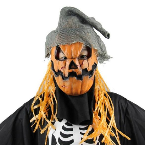 Pumpkin Human Skeleton Dance Party mask Venetian mask masquerade full face masks with wig hair piece Festive event Supplies