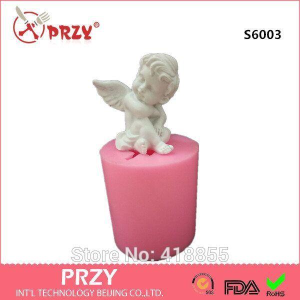 Muffa del sapone della muffa del silicone 3d muffe della candela di angelo di Cupid fatto a mano sveglio del bambino diy per le decorazioni S6003 della torta