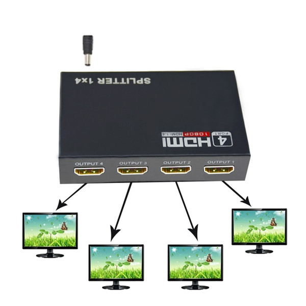 HDMI Splitter 1 in 4 Out HDCP 1080P Hub V1.4 HDMI Splitter Adapter Cable For PS3 PC HDTV XBOX With Retail box