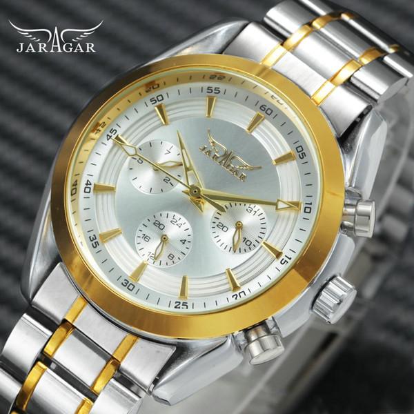 JARAGAR Golden Auto Mechanical Watch Hombres 3 Sub-diales 6 Hands Date Week 24H Chronogarph Mens Watches Top Brand Luxury relogio