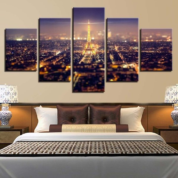5 Panels Paris Eiffel Tower City Night Scene Room Canvas Oil Painting Print Wall Art Decor for Living Room Home Decoration Framed/Unframed