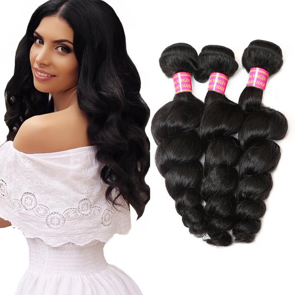 Unproce ed brazilian kinky traight body loo e deep wave curly hair weft whole ale peruvian indian malay ian human hair hipping, Black