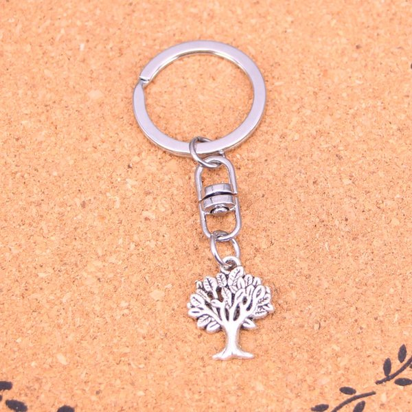 New Fashion Keychain 22*17mm life tree Pendants DIY Men Jewelry Car Key Chain Ring Holder Souvenir For Gift