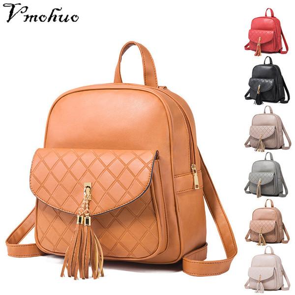 VMOHUO Korean Style Women Backpack  Leather Diamond Lattice Backpacks Female Tassel Travel Back Bags schoolbag for girls
