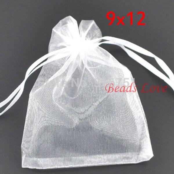 200 stücke Weiß Schmuck Verpackung Drawable Organza Taschen Hochzeitsgeschenk Taschen 9 * 12 cm Schmuck Beutel Zubehör Günstige W03194
