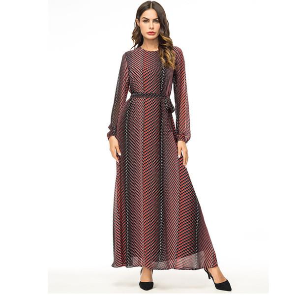 Abaya Vestidos 2018 Chiffon Striped Turkey Arabic Muslim Hijab Dress Qatar UAE Dubai Abayas For Women Turkish Islamic Clothing