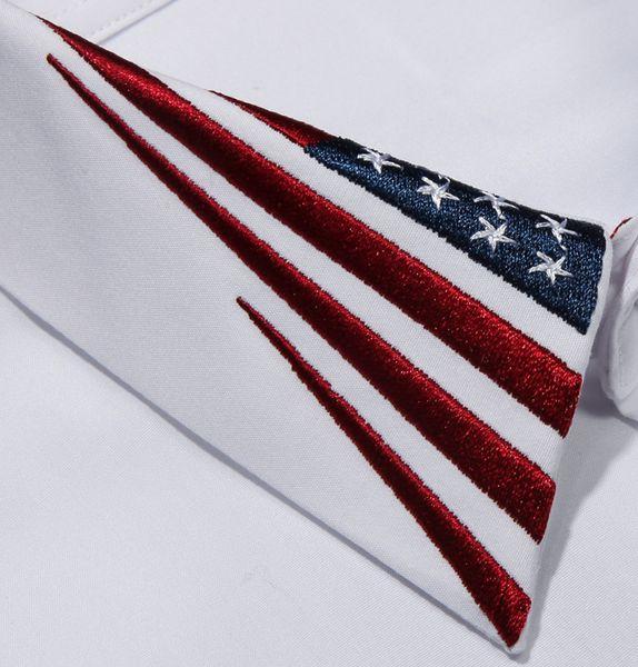 Hot sales Men Dress Shirt Embroidery The American flag white black plus size 3XL Camisa Masculino Fashion Slim Men Casual Shirt