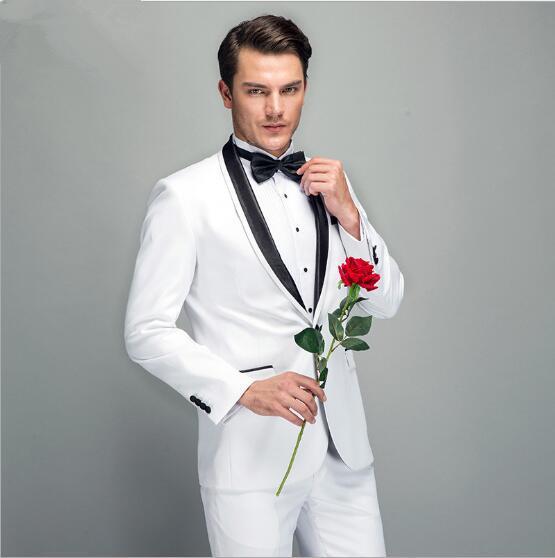 New men's suit dress suit dress two-piece men's white satin round neck men's suit wedding groom groomsmen dress