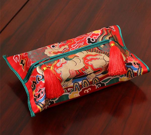 Luxury Chinese Thicken Silk Brocade Tissue Box Cover High End Car Home Decor Dragon Phoenix Kirin crane Removable Kleenex Box Cover