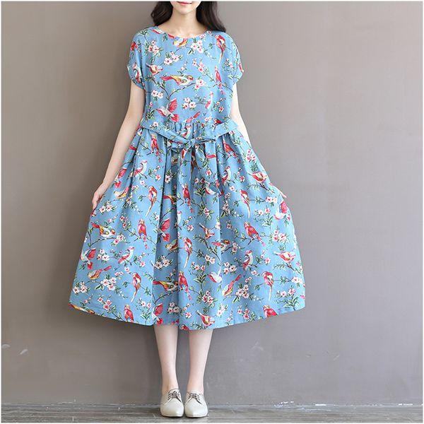 Summer New Japan Fashion Mori Girl Dress 2018 Women Preppy Literary O-neck Short Sleeve Bird Print Maxi Long Cotton Linen Dress
