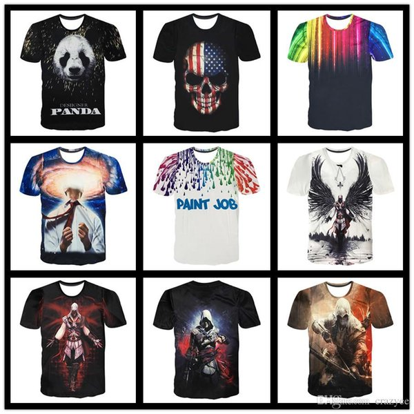 Hot New 2017 Summer Fashion T Shirts Men Short Sleeve Game Tees Assassins Creed 3D Printing T-Shirt Design Online Free Shipping