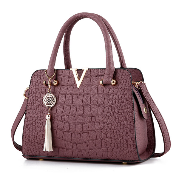 V Bolso de embrague de cuero de lujo de las mujeres Bolsos de las señoras Bolsas de mensajero de las mujeres de la marca Sac A Main Femme Bolso de asa superior