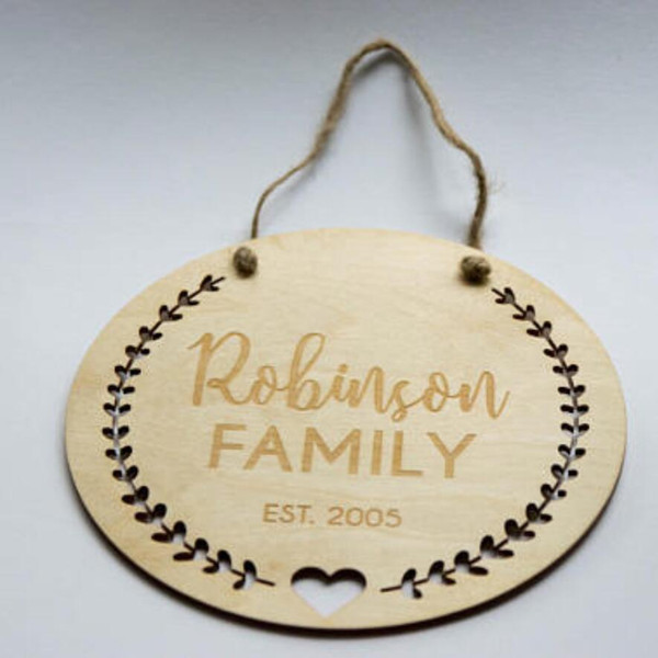 Personalized wood ornament Family first christmas wall ornament Wood wall Laser Cut Sign hanging