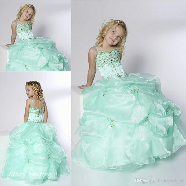 Cute Mint Green Girl's Pageant Dress Princess Ball Gown Party Cupcake Prom Dress For Short Girl Pretty Dress For Little Kid