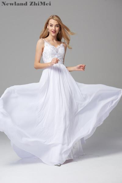 Elegant Beach Bride Dress Sexy Spaghetti Straps Backless Long Chiffon Wedding Gowns Simple Design 2018 abiti da sposa