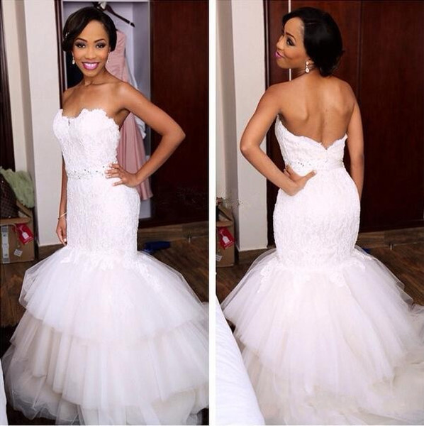 New Arrival Mermaid Wedding Dresses Sexy Lace Appliques Sweetheart Open Back African Wedding Gowns Tiered Tulle Floor Length Wedding Dress