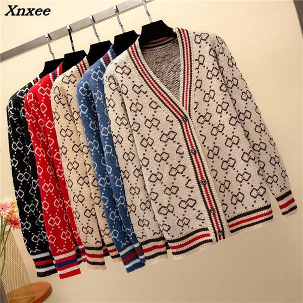 new 2018 autumn winter Women V-neck button placket Long Sleeve Cardigan sweater Oversize  korean knitted coat Xnxee