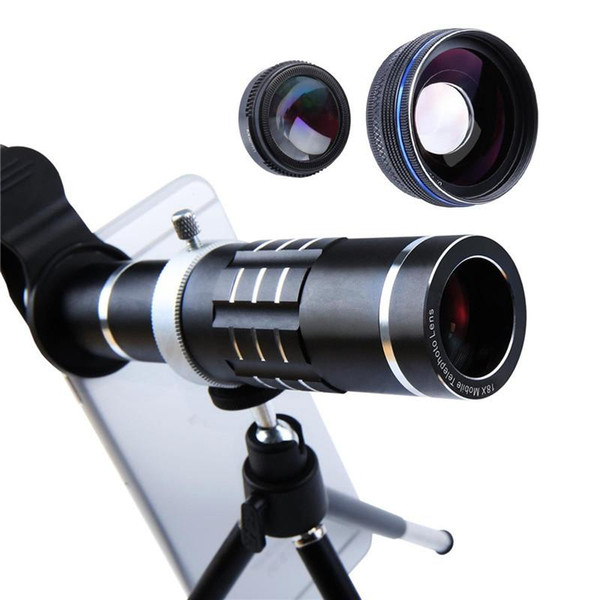 4K 18X Zoom Lens HX-1821 Telescope Telephoto Camera Phone Lenses 0.45x wide angle lens macro lens Tripod Aluminum Shell For Mobile Phone