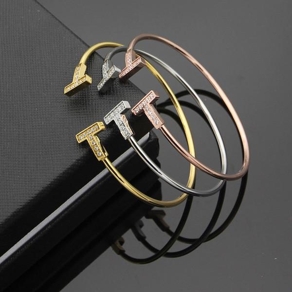 Top-Qualität Marke Schmuck Titansteel Doppel T öffnen CZ Armband Armreifen für Frau Flex wiggle Armband