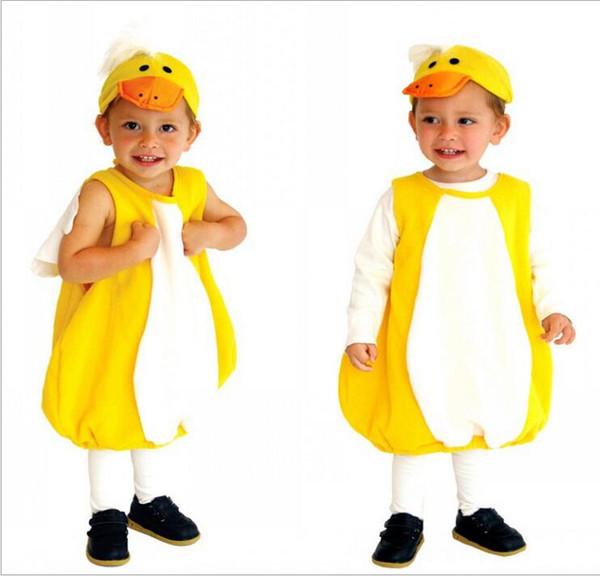 Baby-Mädchen-Jungen-Halloween-Gelb-Ente cosplay Kostüm-gesetzter Spielanzug mit Hut Kinderbühnenshow-Rollenspiel Ente PARTY-KOSTÜM S M L HC42
