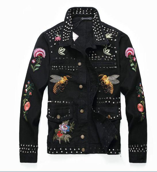 2019 En kaliteli erkek daha revit nakış Denim Ceket Çivili Mektup PABLO Tasarım Bahar Ceket Jean Palto Tek göğüslü boyutu M-XXL