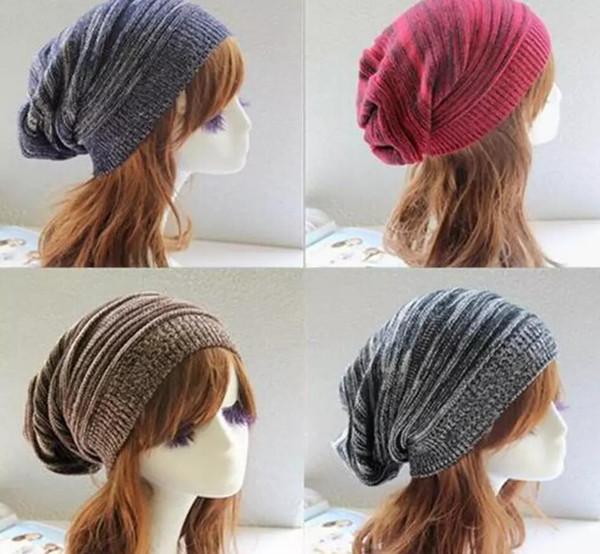 Winter Wrinkle Knitted Crochet Baggy Hat Beanie Cap Winter Warm Street Hip Hop Caps Stripe Beanies Skullies Hats 1000pcs