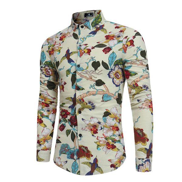 Spring Autumn Men's Clothing Long Sleeved Flowers Bird Printed Slim Men's Shirts Fashion Male Casual Business Social Shirt