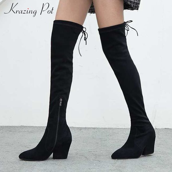 Krazing Pot sheep suede pointed toe stretch boots style gladiator keep warm big size fashion solid color over-the-knee boots L14
