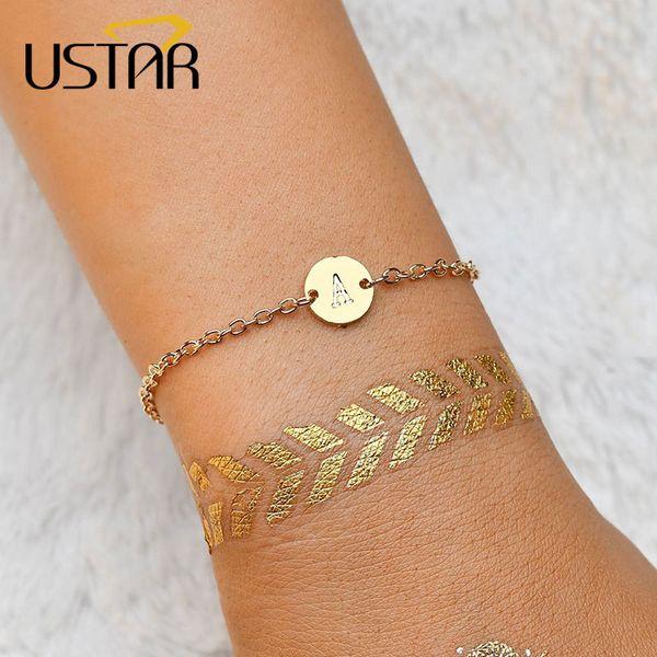 USTAR Alphabet Letter Bracelets for women Gold color Adjustable Chain Bangle & Bracelet femme Pulseras Mujer Jewelry Party Gifts