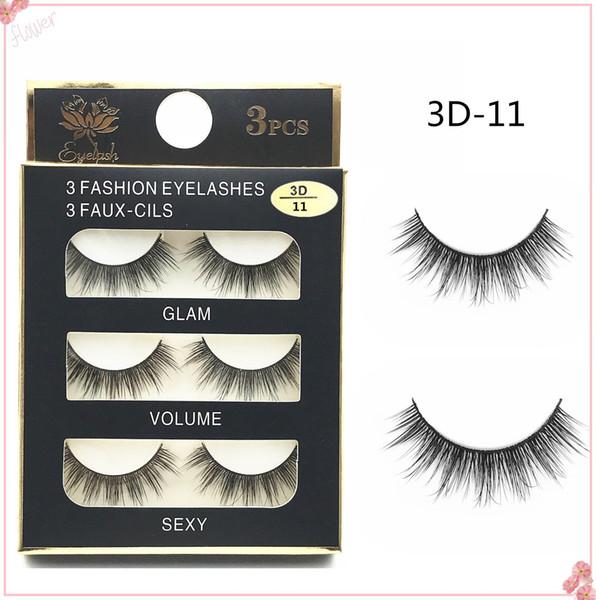 Hot Sale 3Pairs New 3D Natural Cross thick False Eyelashes long makeup 3D Lashes Fake Eye Lashes Extension Make Up Beauty 3D-11