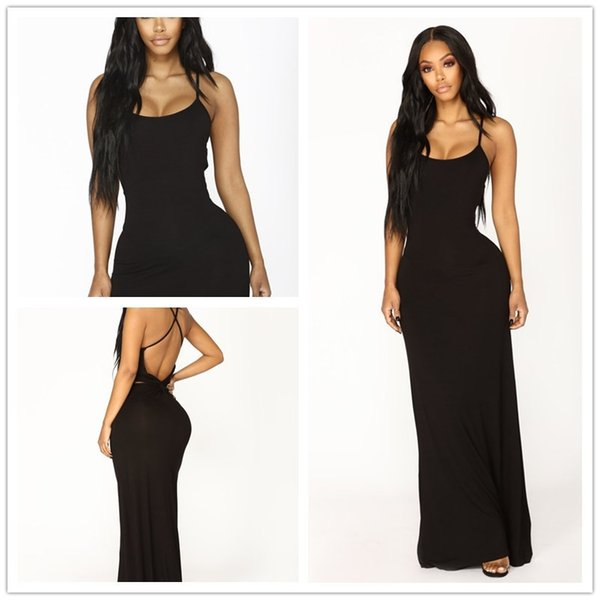 2018 Sexy senza maniche Backless Cross Deep V Neck Sling Long Gown Party Casual Maxi Infinity Dress